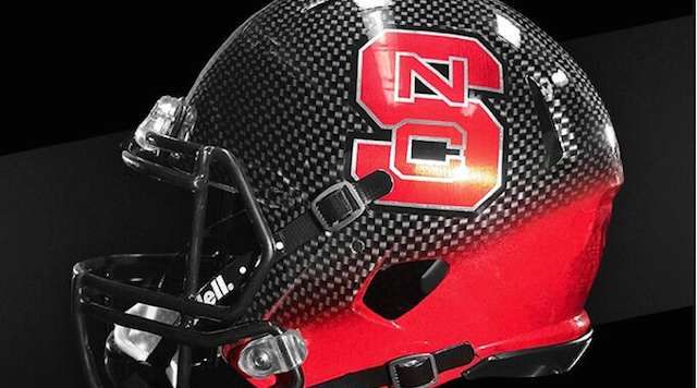 "NC State's ""Pack in Black"" helmet. Photo via NC State"