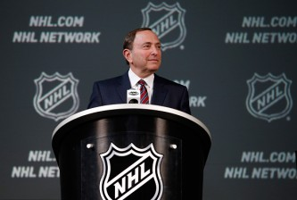 COLUMBUS, OH - JANUARY 24:  NHL Commissioner Gary Bettman speaks during a press conference as part of the 2015 NHL All-Star Weeknd at the Nationwide Arena on January 24, 2015 in Columbus, Ohio.  (Photo by Gregory Shamus/Getty Images)