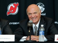 NEWARK, NJ - AUGUST 15: President and General Manager and former CEO of the New Jersey Devils Lou Lamoriello addresses the media during the press conference announcing the new ownership of the New Jersey Devils on August 15, 2013 in Newark, New Jersey. (Photo by Andy Marlin/Getty Images)
