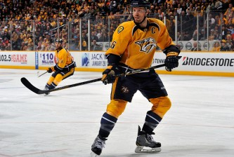 NASHVILLE, TN - DECEMBER 27:  Shea Weber #6 of the Nashville Predators skates against the Philadelphia Flyers at Bridgestone Arena on December 27, 2014 in Nashville, Tennessee.  (Photo by Frederick Breedon/Getty Images)