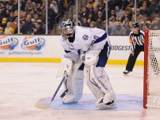 BOSTON, MA - JANUARY 13: Ben Bishop #30 of the Tampa Bay Lightning tends net during the game against the Boston Bruins at TD Garden on January 13, 2015 in Boston, Massachusetts. The Bruins defeat the Lightning 4-3.  (Photo by Maddie Meyer/Getty Images)