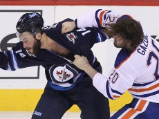 WINNIPEG, MB - FEBRUARY 16: Anthony Peluso #14 of the Winnipeg Jets and Luke Gazdic #20 of the Edmonton Oilers fight in first period action in an NHL game at the MTS Centre on February 16, 2015 in Winnipeg, Manitoba, Canada. (Photo by Marianne Helm/Getty Images)