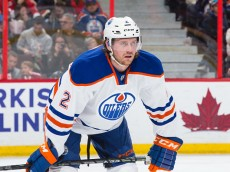 OTTAWA, ON - FEBRUARY 14: Jeff Petry #2 of the Edmonton Oilers prepares for a faceoff against the Ottawa Senators at Canadian Tire Centre on February 14, 2015 in Ottawa, Ontario, Canada.  (Photo by Jana Chytilova/Freestyle Photography/Getty Images)