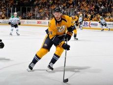NASHVILLE, TN - APRIL 04:  Cody Franson #44 of the Nashville Predators skates against the Dallas Stars during the second period at Bridgestone Arena on April 4, 2015 in Nashville, Tennessee.  (Photo by Frederick Breedon/Getty Images)