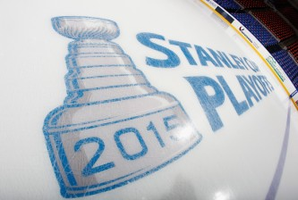 UNIONDALE, NY - APRIL 19: A playoff logo appears on the ice prior to the game between the New York Islanders and the Washington Capitals in Game Three of the Eastern Conference Quarterfinals during the 2015 NHL Stanley Cup Playoffs at the Nassau Veterans Memorial Coliseum on April 19, 2015 in Uniondale, New York.  (Photo by Bruce Bennett/Getty Images)