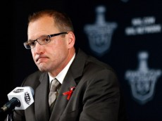 BOSTON, MA - JUNE 05:  Dan Bylsma of the Pittsburgh Penguins speaks to the media following a 2-1 double overtime loss to the Boston Bruins during Game Three of the Eastern Conference Final of the 2013 NHL Stanley Cup Playoffs at the TD Garden on June 5, 2013 in Boston, Massachusetts.  (Photo by Jared Wickerham/Getty Images)
