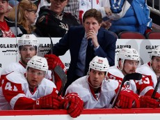 GLENDALE, AZ - FEBRUARY 07:  Head coach Mike Babcock of the Detroit Red Wings on the bench during the NHL game against the Arizona Coyotes at Gila River Arena on February 7, 2015 in Glendale, Arizona. The Red Wings defeated the Coyotes 3-1.  (Photo by Christian Petersen/Getty Images)