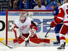 TAMPA, FL - APRIL 18: Jimmy Howard #35 of the Detroit Red Wings looks up for a rebound in front of Brenden Morrow #10 of the Tampa Bay Lightning in Game Two of the Eastern Conference Quarterfinals during the 2015 NHL Stanley Cup Playoffs at Amalie Arena on April 18, 2015 in Tampa, Florida. (Photo by Mike Carlson/Getty Images)