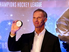 PRAGUE, CZECH REPUBLIC - MAY 13:  Former Czech Republic Hockey player Dominik Hasek is seen on stage during the draw of the CHL Champions League 2015-16 season at the o2 Arena on May 13, 2015 in Prague, Czech Republic.  (Photo by Martin Rose/Getty Images)
