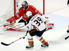 CHICAGO, IL - MAY 23: Matt Beleskey #39 of the Anaheim Ducks takes a shot against Corey Crawford #50 of the Chicago Blackhawks in Game Four of the Western Conference Finals during the 2015 NHL Stanley Cup Playoffs at the United Center on May 23, 2015 in Chicago, Illinois.  (Photo by Tasos Katopodis/Getty Images)
