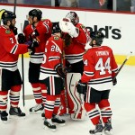CHICAGO, IL - MAY 23:  The Chicago Blackhawks celebrate after defeating the Anaheim Ducks 5-4 in double overtime in Game Four of the Western Conference Finals during the 2015 NHL Stanley Cup Playoffs at the United Center on May 23, 2015 in Chicago, Illinois.  (Photo by Tasos Katopodis/Getty Images)