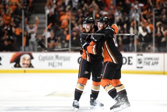 ANAHEIM, CA - MAY 25:  Cam Fowler #4 of the Anaheim Ducks celebrates his first period goal against the Chicago Blackhawks with teammate Sami Vatanen #45 in Game Five of the Western Conference Finals during the 2015 NHL Stanley Cup Playoffs at Honda Center on May 25, 2015 in Anaheim, California.  (Photo by Harry How/Getty Images)