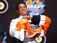 during the first round of the 2015 NHL Draft at BB&T Center on June 26, 2015 in Sunrise, Florida.