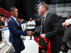 SUNRISE, FL - JUNE 27:  Oliver Kylington reacts after being selected 60th overall by the Calgary Flames during the 2015 NHL Draft at BB&T Center on June 27, 2015 in Sunrise, Florida.  (Photo by Bruce Bennett/Getty Images)