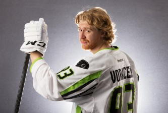 COLUMBUS, OH - JANUARY 25:  Jakub Voracek #93 of the Philadelphia Flyers and Team Toews poses for a portrait prior to the 2015 Honda NHL All-Star Game at Nationwide Arena on January 25, 2015 in Columbus, Ohio.  (Photo by Gregory Shamus/Getty Images)