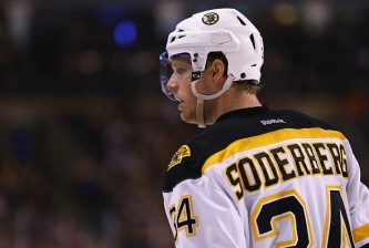 BOSTON, MA - MARCH 07:  Carl Soderberg #34 of the Boston Bruins looks on during the game against the Philadelphia Flyers at TD Garden on March 7, 2015 in Boston, Massachusetts. The Bruins defeat the Flyers 3-2 in overtime.  (Photo by Maddie Meyer/Getty Images)