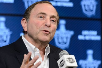 OTTAWA, ON - APRIL 26:  NHL Commissioner Gary Bettman addresses the media prior to Game Six of the Eastern Conference Quarterfinals during the 2015 NHL Stanley Cup Playoffs at Canadian Tire Centre on April 26, 2015 in Ottawa, Ontario, Canada. The Montreal Canadiens eliminated the Ottawa Senators by defeating them 2-0 and move to the next round of the Stanley Cup Playoffs. (Photo by Minas Panagiotakis/Getty Images)