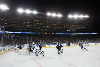 SANTA CLARA, CA - FEBRUARY 21:  The San Jose Sharks play against the Los Angeles Kings during the 2015 Coors Light NHL Stadium Series game at Levi's Stadium on February 21, 2015 in Santa Clara, California. The Kings defeated the Sharks 2-1.  (Photo by Bruce Bennett/Getty Images)