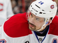 OTTAWA, ON - APRIL 22: Tomas Plekanec #14 of the Montreal Canadiens prepares for a faceoff against the Ottawa Senators in Game Four of the Eastern Conference Quarterfinals during the 2015 NHL Stanley Cup Playoffs at Canadian Tire Centre on April 22, 2015 in Ottawa, Ontario, Canada.  (Photo by Jana Chytilova/Freestyle Photography/Getty Images)
