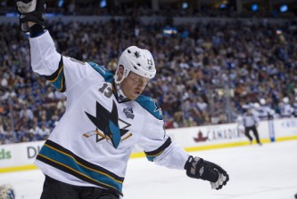 VANCOUVER, CANADA - MAY 3:  Raffi Torres #13 of the San Jose Sharks celebrates after scoring the game-winning goal against the Vancouver Canucks for a 3-2 victory in overtime in Game Two of the Western Conference Quarterfinals of the 2013 NHL Stanley Cup Playoffs, May 03, 2013 at Rogers Arena in Vancouver, British Columbia, Canada.  (Photo by Rich Lam/Getty Images)