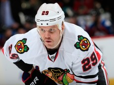 DENVER, CO - NOVEMBER 26:  Bryan Bickell #29 of the Chicago Blackhawks awaits a face off against the Colorado Avalanche at Pepsi Center on November 26, 2014 in Denver, Colorado. The Blackhawks defeated the Avalanche 3-2.  (Photo by Doug Pensinger/Getty Images)