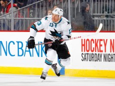 NEWARK, NJ - MARCH 02:  Raffi Torres #13 of the San Jose Sharks in action against the New Jersey Devils at the Prudential Center on March 2, 2014 in Newark, New Jersey. The Sharks defeated the Devils 4-2.  (Photo by Jim McIsaac/Getty Images)