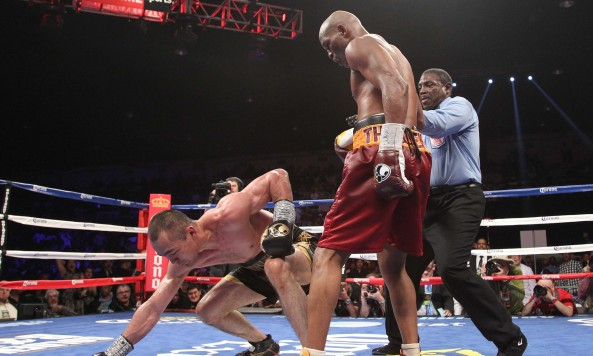 Bernard Hopkins downs Beibut Shumenov; credit: Tom Casino, Showtime