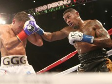 Gennady Golovkin  Willie Monroe Jr. in their World Middleweight Championship fight at The Forum on May 16, 2015 in Inglewood, California
