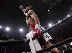 TAMPA, FL - JULY 11:  Keith Thurman celebrates in the ring following a corner stoppage by Luis Collazo during their WBA Welterweight fight on July 11, 2015 at the USF Sun Dome in Tampa, Florida.  (Photo by Brian Blanco/Getty Images)