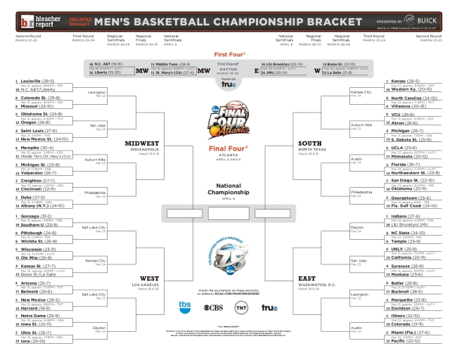 photograph about Printable Ncaa Bracket With Times and Channels identified as The 2013 Printable Bracket Ability Scores Function the Area