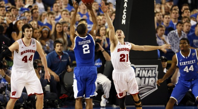 Josh Gasser was late. Aaron Harrison had an unbothered shooting hand. The rest is history.