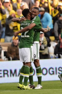 COLUMBUS, OH - DECEMBER 6: Rodney Wallace #22 of the Portland Timbers and Fanendo Adi #9 of the Portland Timbers celebrate a goal against the Columbus Crew SC on December 6, 2015 at MAPFRE Stadium in Columbus, Ohio. Portland defeated Columbus 2-1 to take the MLS Cup title. (Photo by Jamie Sabau/Getty Images)