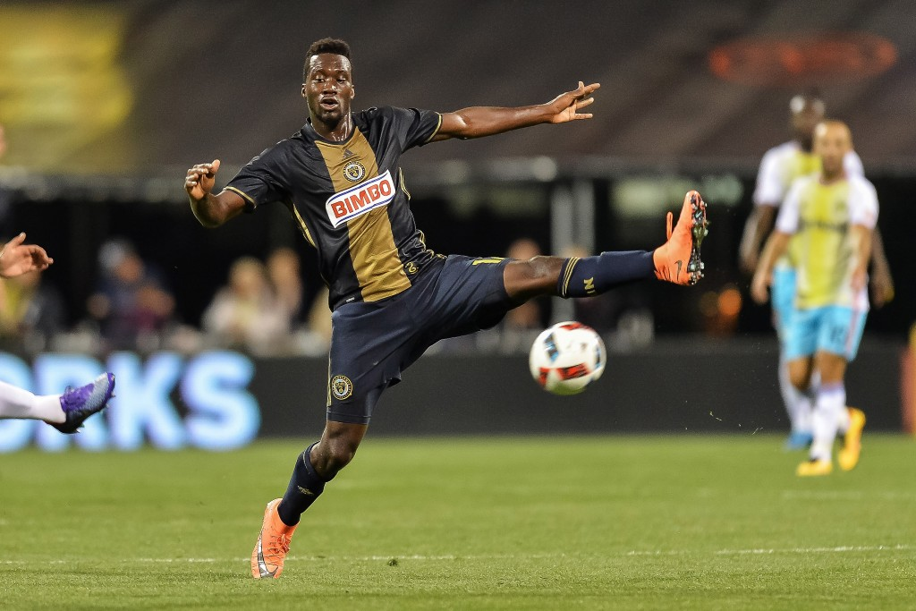 COLUMBUS, OH - MARCH 12: C.J. Sapong #17 of the Philadelphia Union controls the ball against the Columbus Crew SC on March 12, 2016 at MAPFRE Stadium in Columbus, Ohio. (Photo by Jamie Sabau/Getty Images)