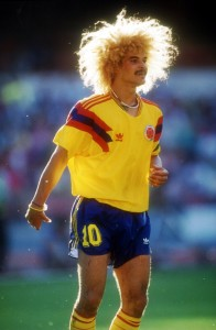 1990: CARLOS VALDERRAMA OF COLOMBIA DURING THE 1990 WORLD CUP IN ITALY. Mandatory Credit: David Cannon/ALLSPORT