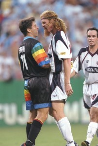 26 Jul 1997: Preki of the Kansas City Wizards (left) and Alexi Lalas of the New England Revolution argue during a game at Arrowhead Stadium in Kansas City, Missouri. The Wizards won the game, 1-0.