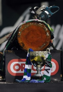 PORTLAND, OR - OCTOBER 27: The 'Cascadia Cup' is shown on the field during the second half of the game at Jeld-Wen Field on October 27, 2012 in Portland, Oregon.The game ended in a 1-1 draw.(Photo by Steve Dykes/Getty Images)