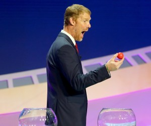 NEW YORK, NY - FEBRUARY 21: Alexi Lalas reacts after drawing the first ball of the night during the 2016 Copa America Centenario - Draw Ceremony at Hammerstein Ballroom on February 21, 2016 in New York City. (Photo by Elsa/Getty Images)
