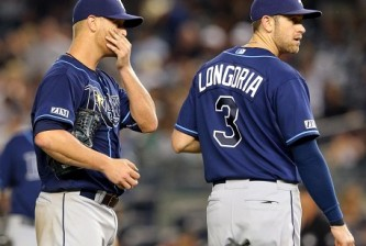 Alex Cobb and Evan Longoria of the Rays