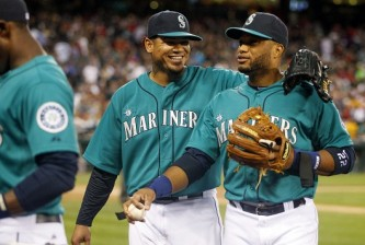 Felix Hernandez and Robinson Cano of the Mariners