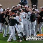 The Baltimore Orioles celebrate the AL East title