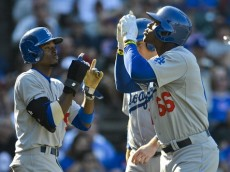 Dee Gordon and Yasiel Puig of the Dodgers