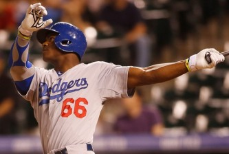 Yasiel Puig of the Los Angeles Dodgers