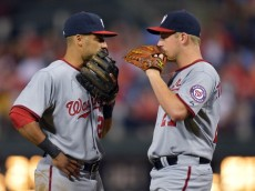 PHILADELPHIA, PA - AUGUST 04: Ian Desmond #20 and Jordan Zimmermann #27 of the Washington Nationals talk during the game against the Philadelphia Phillies at Citizens Bank Park on September 4, 2013 in Philadelphia, Pennsylvania. The Nationals won 3-2. (Photo by Drew Hallowell/Getty Images)