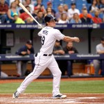 ST. PETERSBURG, FL - SEPTEMBER 1:  Wil Myers #9 of the Tampa Bay Rays follows through as he hits a double off of pitcher Rubby De La Rosa #62 of the Boston Red Sox to score Ryan Hanigan during the third inning of a game on September 1, 2014 at Tropicana Field in St. Petersburg, Florida.  (Photo by Brian Blanco/Getty Images)