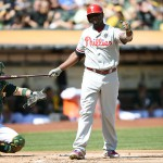 OAKLAND, CA - SEPTEMBER 20:  Ryan Howard #6 of the Philadelphia Phillies reacts after striking out with two runners on base against the Oakland Athletics in the top of the first inning  at O.co Coliseum on September 20, 2014 in Oakland, California.  (Photo by Thearon W. Henderson/Getty Images)