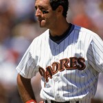 1990:  Fred Lynn of the San Diego Padres looks on during the 1990 season. (Photo by Stephen Dunn/Getty Images)
