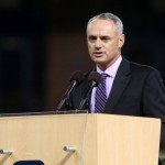 SAN DIEGO, CA - JUNE 26: Chief Operating Officer of Major League Basball Rob Manfred speaks during a Memorial Tribute To Tony Gwynn by the San Diego Padres at PETCO Park on June 26, 2014 in San Diego, California.  (Photo by Stephen Dunn/Getty Images)