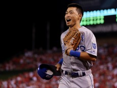 ANAHEIM, CA - OCTOBER 02:  Norichika Aoki #23 of the Kansas City Royals reacts after making a catch in the seventh inning against the Los Angeles Angels during Game One of the American League Division Series at Angel Stadium of Anaheim on October 2, 2014 in Anaheim, California.  (Photo by Jeff Gross/Getty Images)