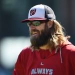 SAN FRANCISCO, CA - OCTOBER 06:  Jayson Werth #28 of the Washington Nationals looks on during batting practice prior to Game Three of the National League Division Series against the San Francisco Giants at AT&T Park on October 6, 2014 in San Francisco, California.  (Photo by Thearon W. Henderson/Getty Images)