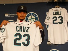 SEATTLE, WA - DECEMBER 04:  Nelson Cruz of the Seattle Mariners poses for a photo following his introductory press conference at Safeco Field on December 4, 2014 in Seattle, Washington.  (Photo by Otto Greule Jr/Getty Images)